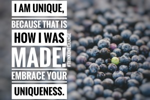 I am unique because that is how I was made. Embrace your uniqueness!  #thinkonechange